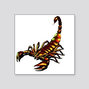 "Metal Scorpion Square Sticker 3"" x 3"""
