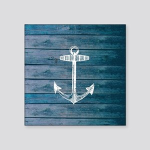 "Anchor on Blue faux wood gr Square Sticker 3"" x 3"""