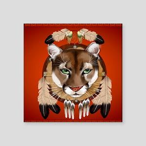 "Queen Duvet Cougar Shield Square Sticker 3"" x 3"""