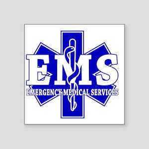 """star of life - blue EMS wor Square Sticker 3"""" x 3"""""""