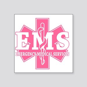 """star of life - pink EMS wor Square Sticker 3"""" x 3"""""""