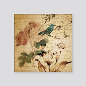 "teal bird vintage roses swi Square Sticker 3"" x 3"""