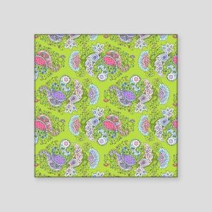 "Paisley Doodles Lime Square Sticker 3"" x 3"""