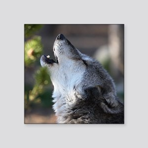 """wolf howling Square Sticker 3"""" x 3"""""""