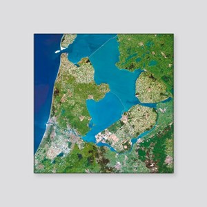 Polders, satellite image - Square Sticker 3