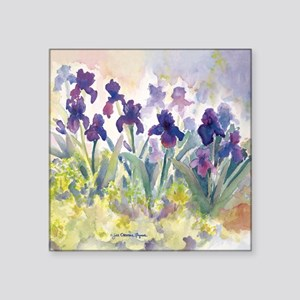 "SQ Purp Irises for CP showe Square Sticker 3"" x 3"""