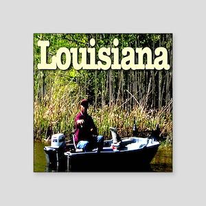 "Louisiana_fishing_c2010Terr Square Sticker 3"" x 3"""