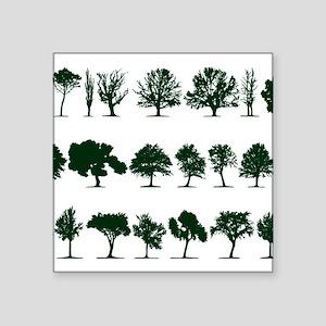 "Tree Silhouettes Green 1 Square Sticker 3"" x 3"""