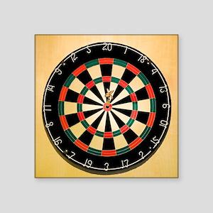"Dart in Bull's Eye on Dart  Square Sticker 3"" x 3"""