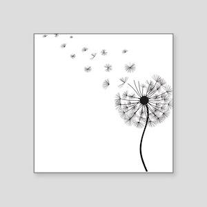 Blowing Dandelion Black Square Sticker