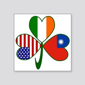 "Shamrock of Taiwan China Square Sticker 3"" x 3"""
