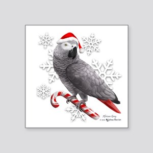 Christmas African Grey Parrot Sticker