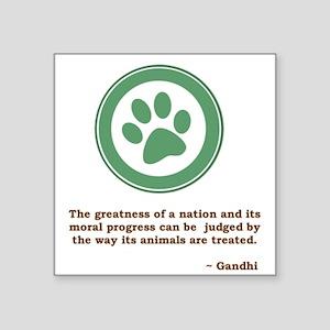 "Gandhi Green Paw Square Sticker 3"" x 3"""