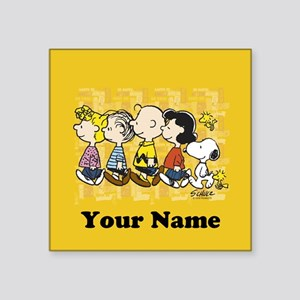 "Peanuts Walking Personalize Square Sticker 3"" x 3"""