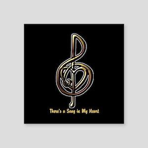 "Customized Music Treble Cle Square Sticker 3"" x 3"""