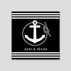 "Black and White Nautical Ro Square Sticker 3"" x 3"""