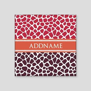 "Personalized Two Tone Giraf Square Sticker 3"" x 3"""