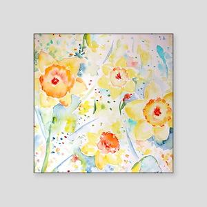 """Watercolor Daffodils Patter Square Sticker 3"""" x 3"""""""