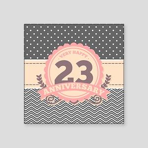 "23rd Anniversary Gift Chevr Square Sticker 3"" x 3"""