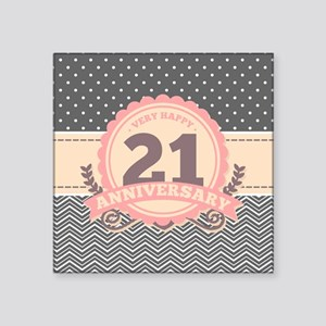 "21st Anniversary Gift Chevr Square Sticker 3"" x 3"""