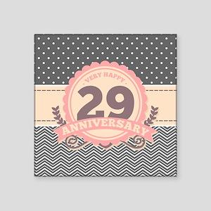 """29th Anniversary Gift Chevr Square Sticker 3"""" x 3"""""""