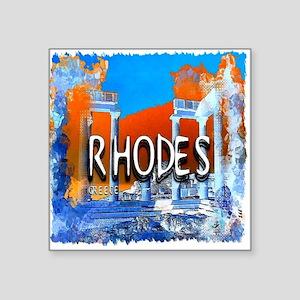 "rhodes Square Sticker 3"" x 3"""