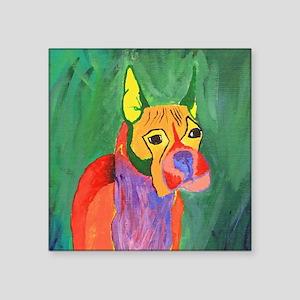 "Boxer Dog Art Square Sticker 3"" x 3"""
