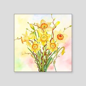 """Watercolor Daffodils Yellow Square Sticker 3"""" x 3"""""""
