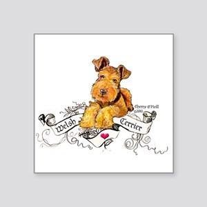 "Welsh Terrier World Square Sticker 3"" x 3"""