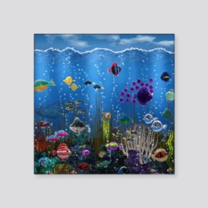 "Underwater Love Square Sticker 3"" x 3"""