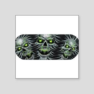 "Green-Eyed Skulls Square Sticker 3"" x 3"""