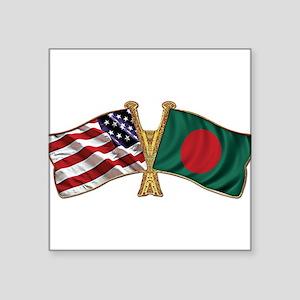 Bangladesh-American Friend Ship Flag Square Sticke