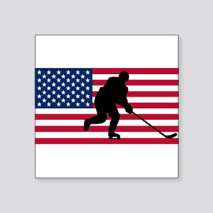 Hockey American Flag Sticker