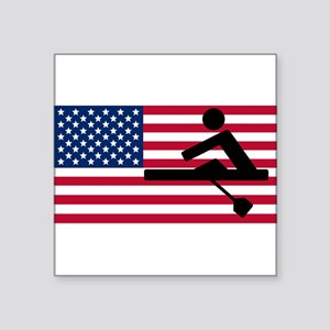 Rowing American Flag Sticker