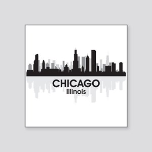 "Chicago Skyline Square Sticker 3"" x 3"""