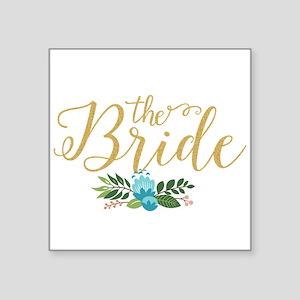 The Bride-Modern Text Design Gold Glitter Sticker