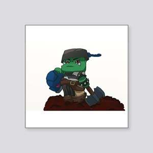 "Chibi Ork Pot Head Square Sticker 3"" x 3"""