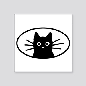 Black Cat Face Oval Sticker