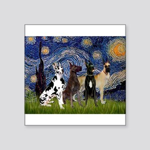 """Starry / 4 Great Danes Square Sticker 3"""" x 3"""""""