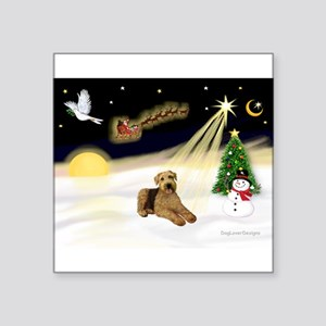"Night Flight - Airedale 5 Square Sticker 3"" x"