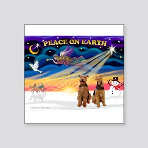 Xmas Sunrise - Two Airedales Square Sticker 3""