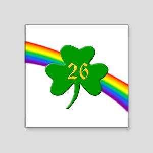 "Rainbow Shamrock 26 Square Sticker 3"" x 3"""