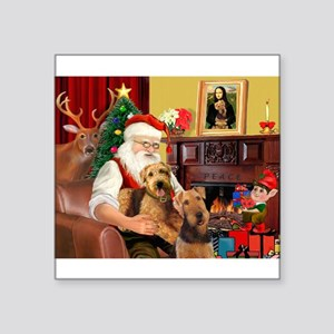 "Santa's Two Airedales Square Sticker 3"" x 3"""