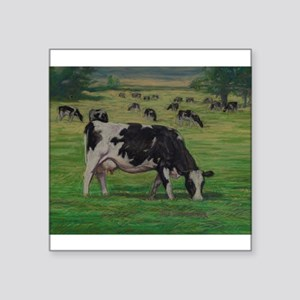 """Holstein Milk Cow in Pasture Square Sticker 3"""" x 3"""