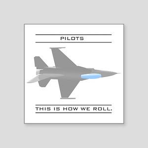 "pilot_roll_bk Square Sticker 3"" x 3"""