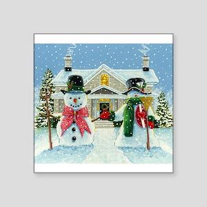"""American Snowman Gothic Square Sticker 3"""" x 3"""""""