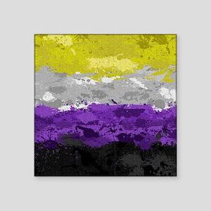 "Non-Binary Paint Splatter F Square Sticker 3"" x 3"""