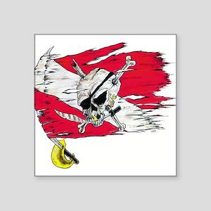 Red Dive Flag Skull Rectangle Sticker