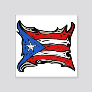 Puerto Rico Heat Flag Rectangle Sticker