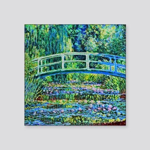 "Monet - Water Lily Pond Square Sticker 3"" x 3"""